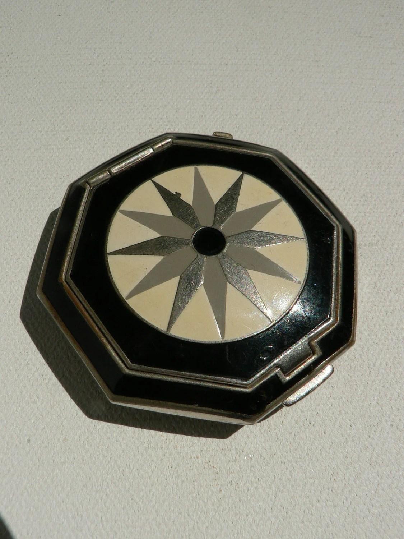art deco 1930's richard hutnut black white enamel compact