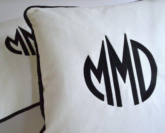 Custom Embroidered Pillow With Your Monogram - Chic Black Monogram on White Tweel Fabric