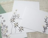SALE Blank card Stationery with tiny Tatted Flowers and beads for thank you congratulations get well -Teeny Tats -014
