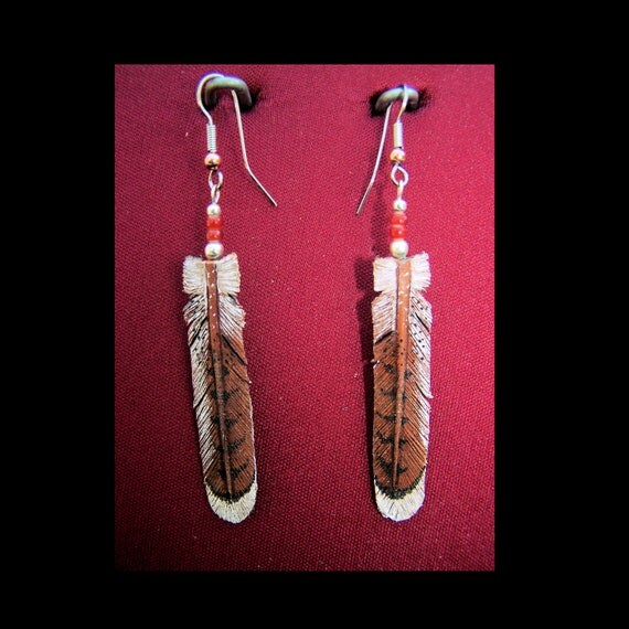Leather Red Tailed Hawk Earrings - Hand Tooled and Tinted