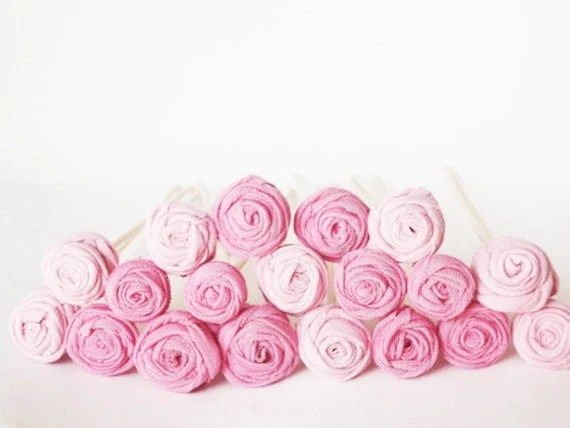 Pink Mix Rose Buds - Set Of 20 - Recycle Project - Eco Friendly Handmade Gift For Her -Outdoor Garden Vase Decor - Fall Autumn Wedding - dmtgun3