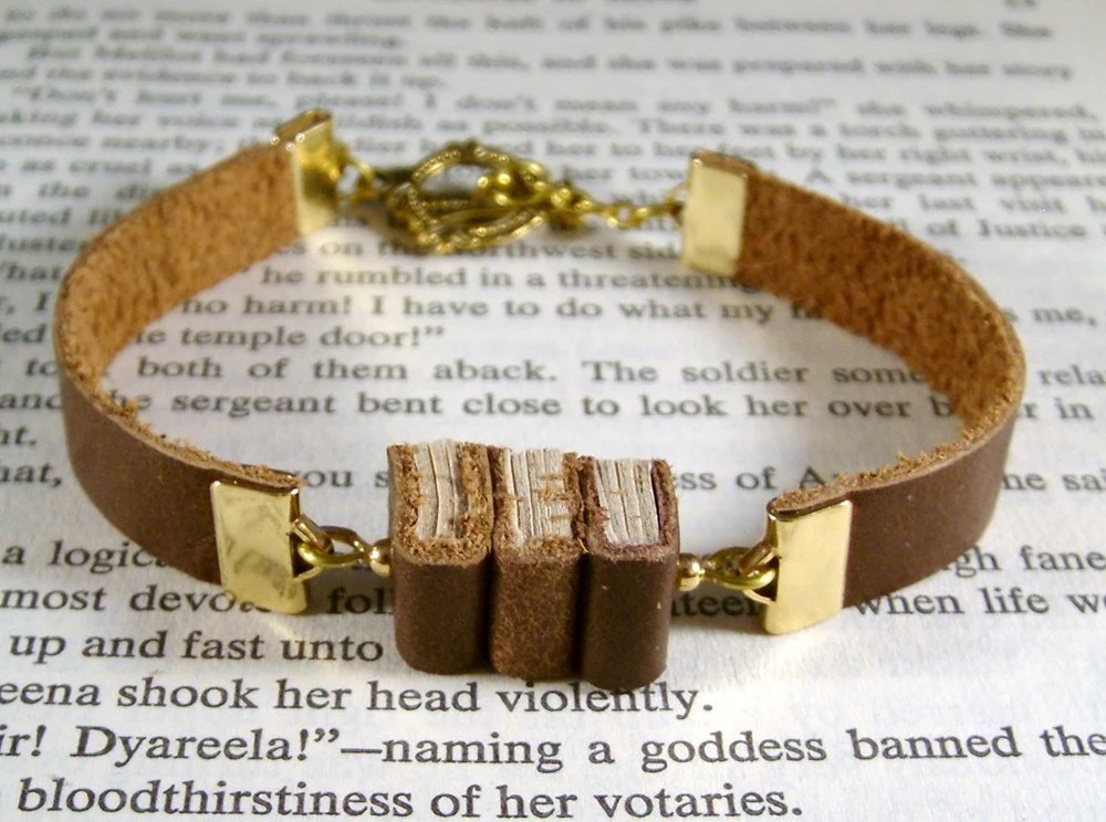 Miniature Book Bracelet The Stacks Stack of Three Miniature Books and Leather Bracelet Like Book Necklace