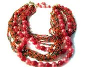 Multi Strand Necklace Seed Bead Faux Pearl Japan Boho - oneredhen