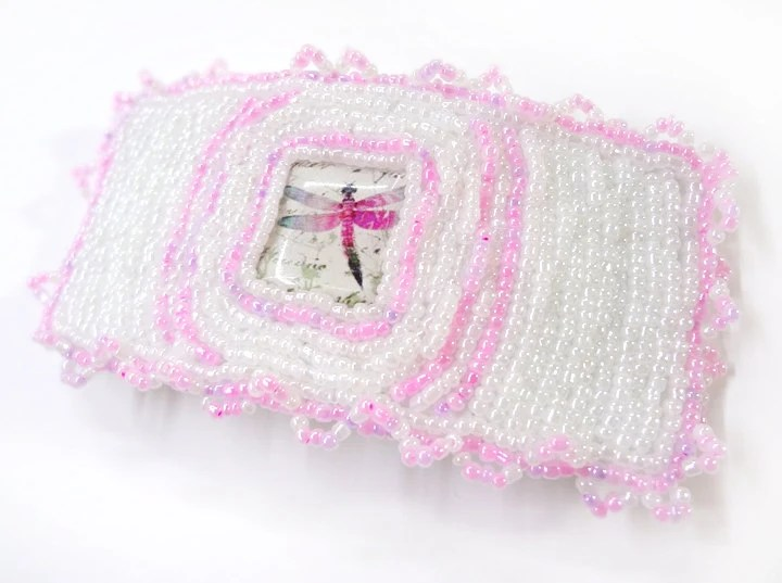 Pretty Pink and White Beaded Dragonfly Barrette - MegansBeadedDesigns