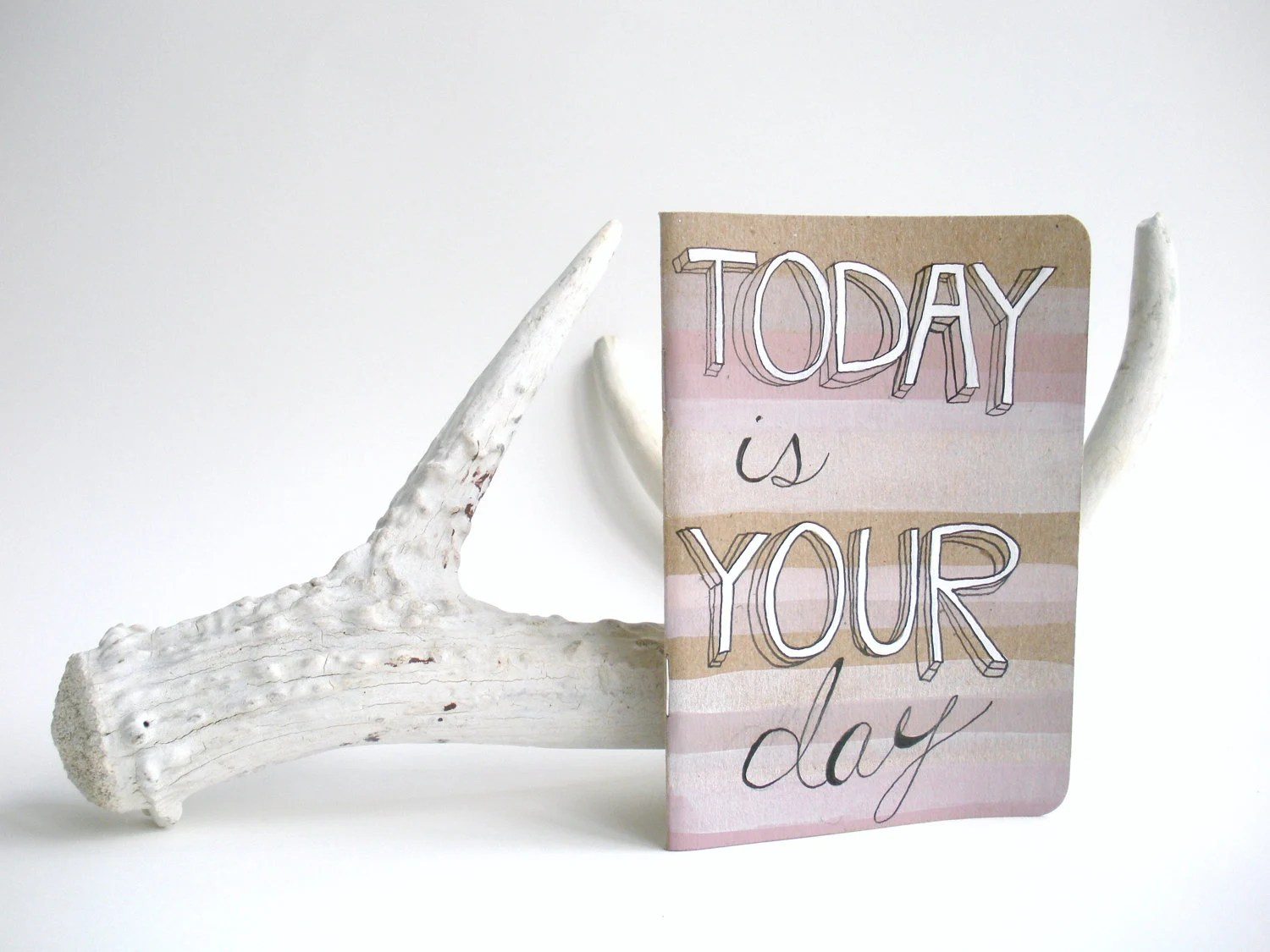 Today is Your Day - Handpainted Custom Made Ombre White and Soft Pink Pocket Cahier - FREE SHIPPING - deermayor