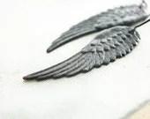 Black Wing Earrings, Long Earrings, Dark Patina Brass, Fallen Angel, Angel Wings, Cherub, Faerie Wings, Long Earrings, Romantic Jewelry - apocketofposies