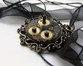 Black steampunk watch parts necklace in victorian frame, ooak polymer clay necklace - kapelusznik