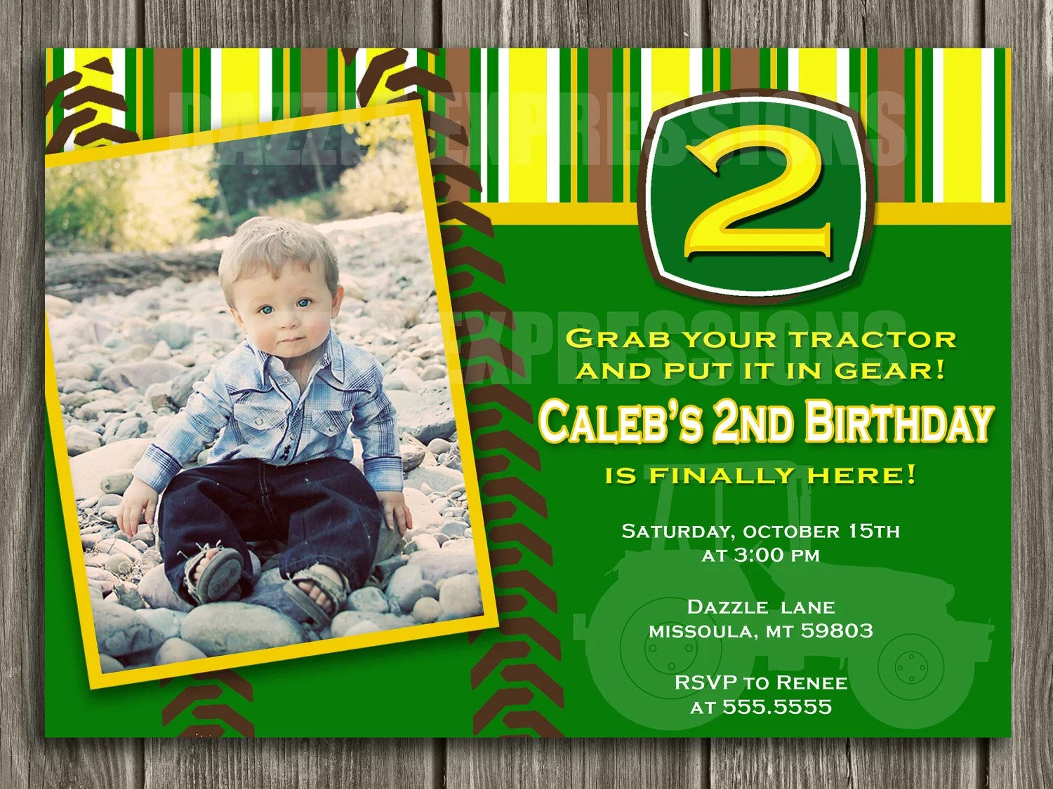 Tractor Birthday Invitation - FREE thank you card included