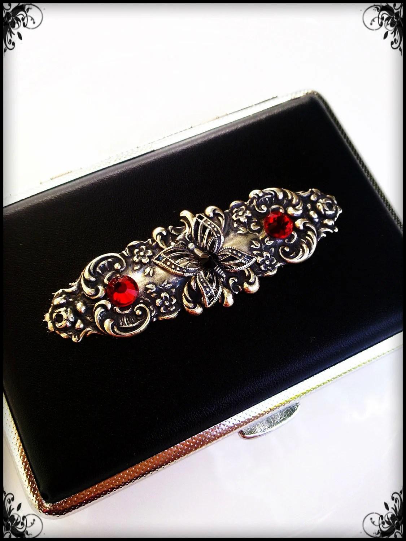 Gothic cigarette case -  business card holder - ornate black leatherette - ApplebiteJewelry