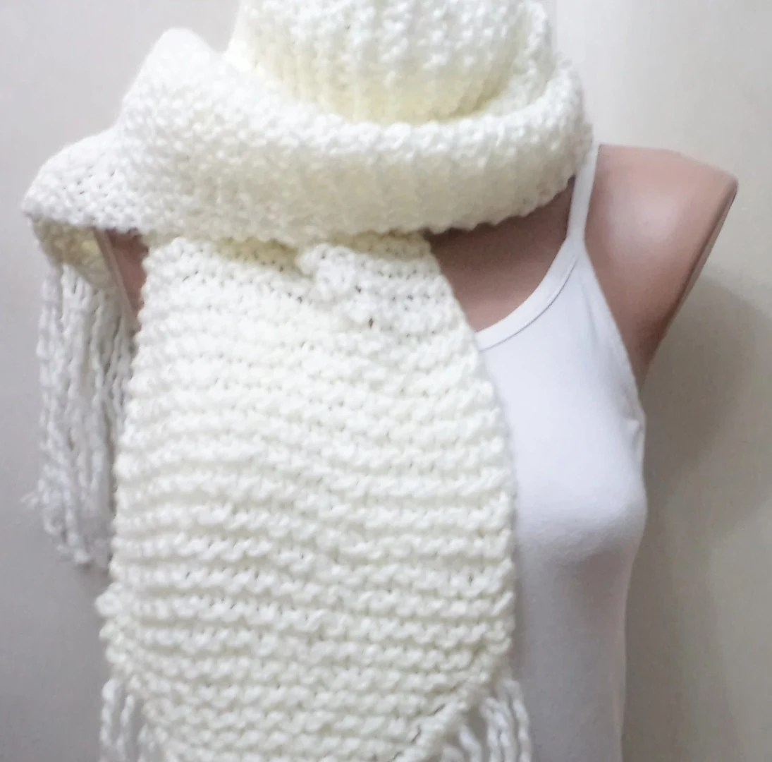 Knitting scarf and hat, Women Acsessory, winter gifts, White scarf, For winter, neck and head warmer. 2103 Trends - BloomedFlower