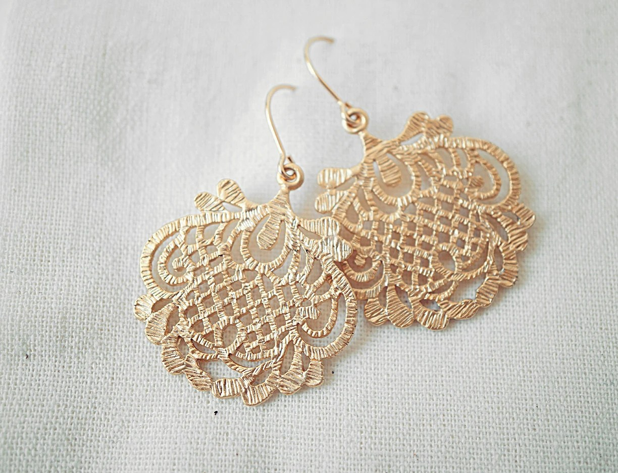 Gold Lace Dangle Earrings