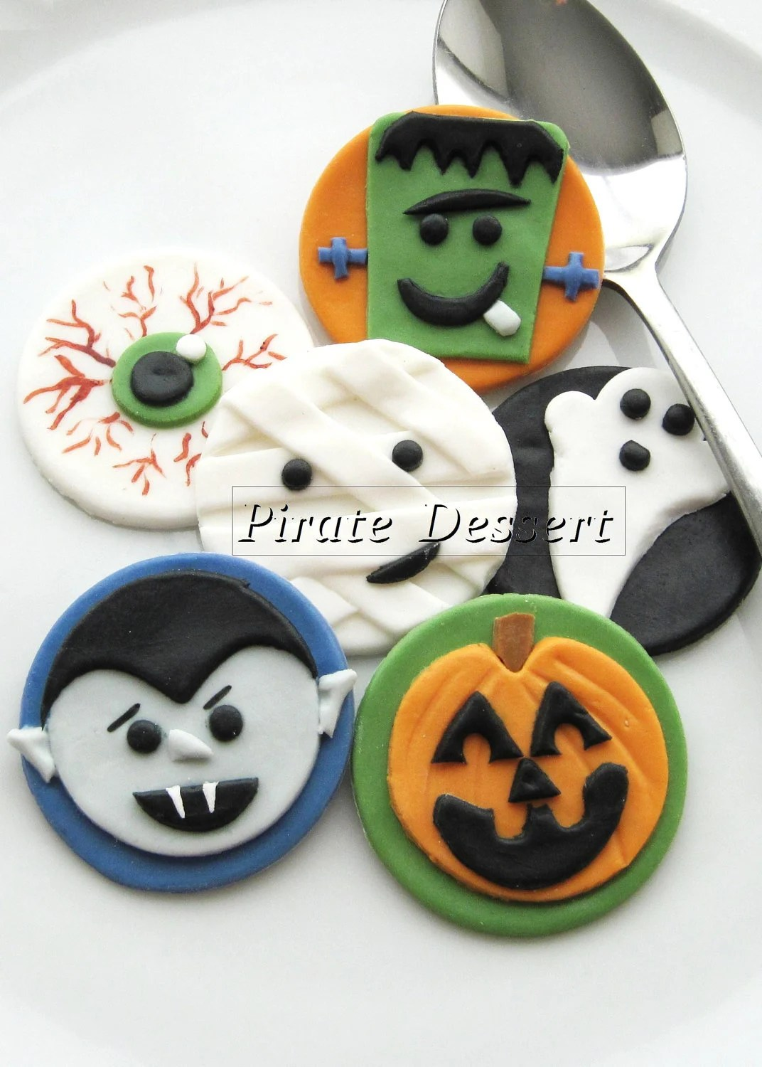 Edible Halloween cupcake toppers - MONSTERS - Fondant cake decorations Halloween Cupcakes  (6 pieces)