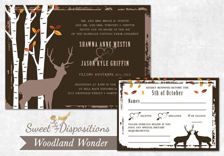 Printable Wedding Invitation Set - Woodland Rustic Birch Tree - SweetDStationery