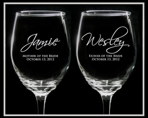 Set of 2 - MOTHER and FATHER Wedding WINE Glasses - Mother of the Bride, Father of the Bride, Mother of the Groom, Father of the Groom