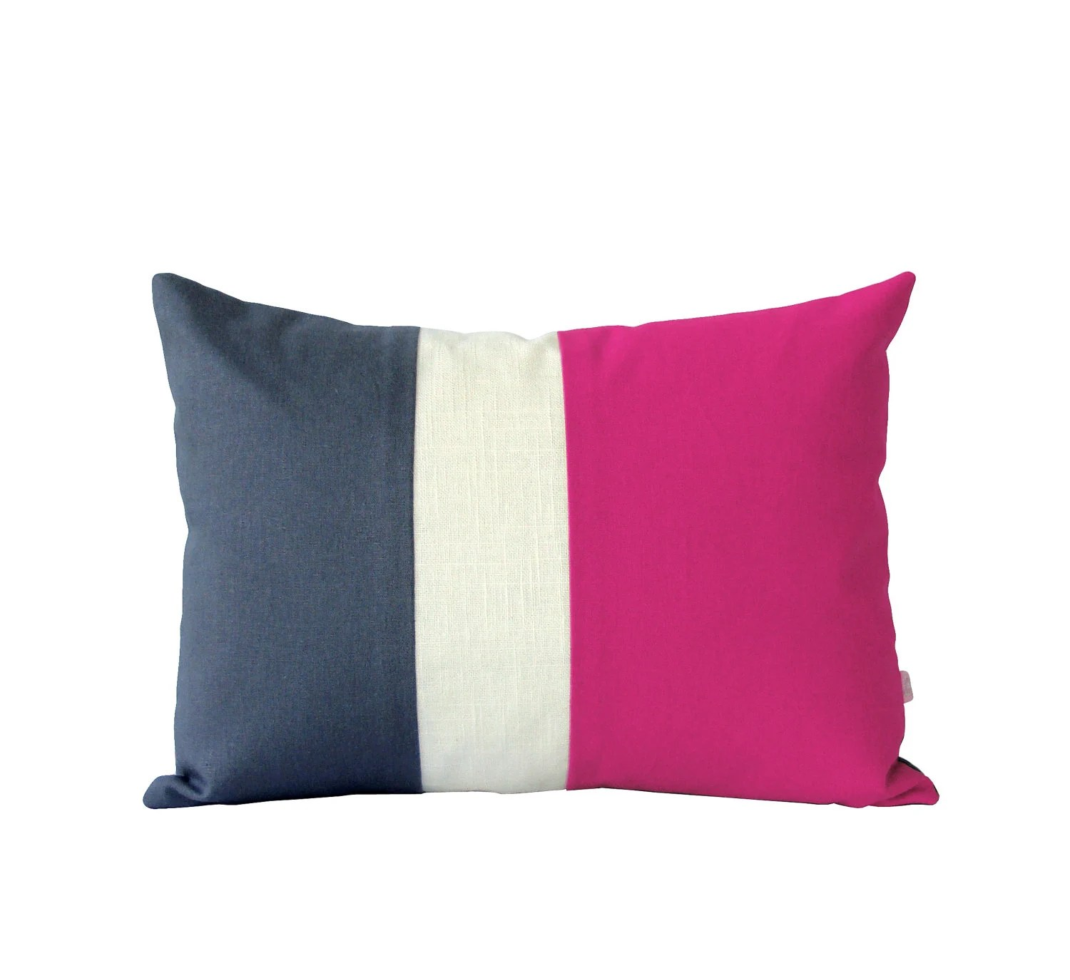 Bright Pink and Gray Colorblock Cushion Cover Modern Home by JillianReneDecor Hot Pink Color Block Pillow Gift for Her Under 50 - JillianReneDecor