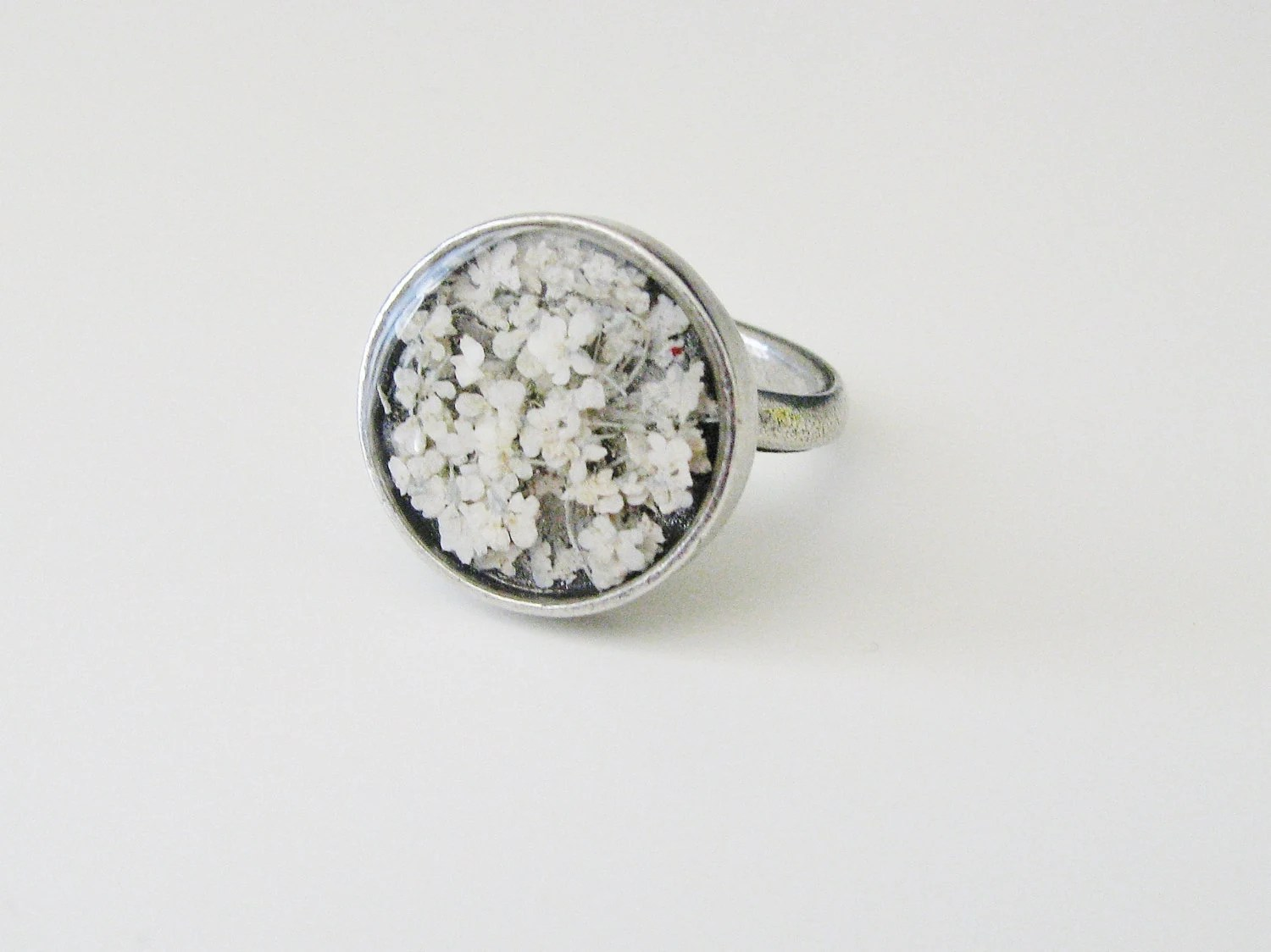 Queen Anne's Lace Ring Resin Jewelry Nature Inspired Botanical Garden Lover Naturalist Mother's Day Bridal White Flower Ring - KateeMarie