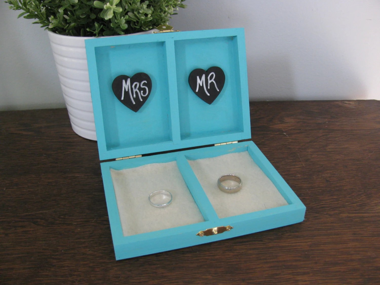 Rustic Personalized Ring Box His and Her's Custom color engraved, ring bearer pillow, chalkboard or wood tag tiffany blue box