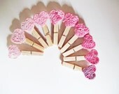 Set Of 10  Mini Clothes Pins - Ombre Pink - Nursery Baby Shower Favors - Granny Square Crochet Hearts - dmtgun3