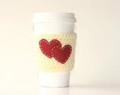 Cup cozy ,white coffee cup cozy , to go coffee cup sleeve with red heart pattern - customizable - personalized - heart to heart - violasboutique