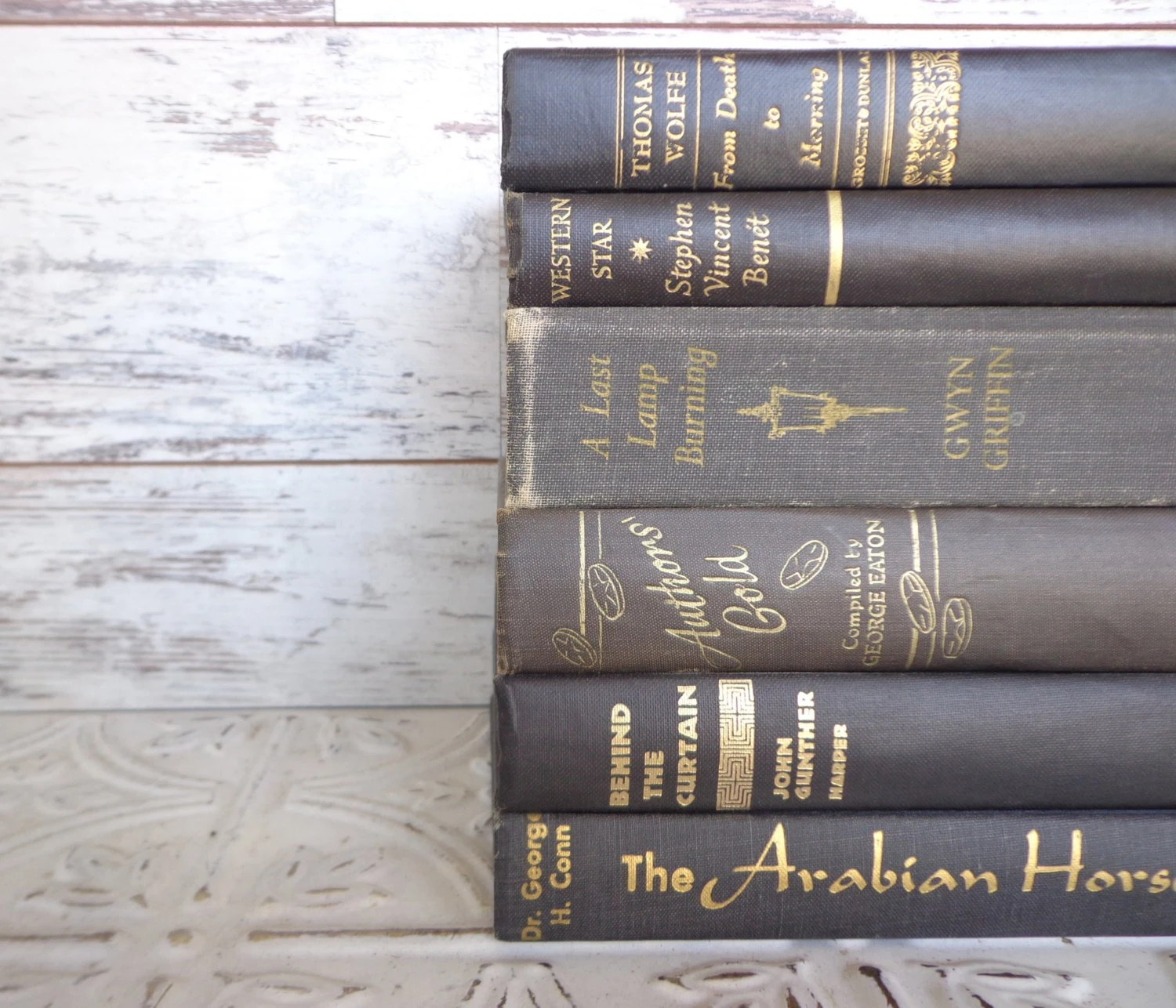 Black & Gold Instant Library Book Collection By Color Vintage Decorative Books Photography Props - sorrythankyou79