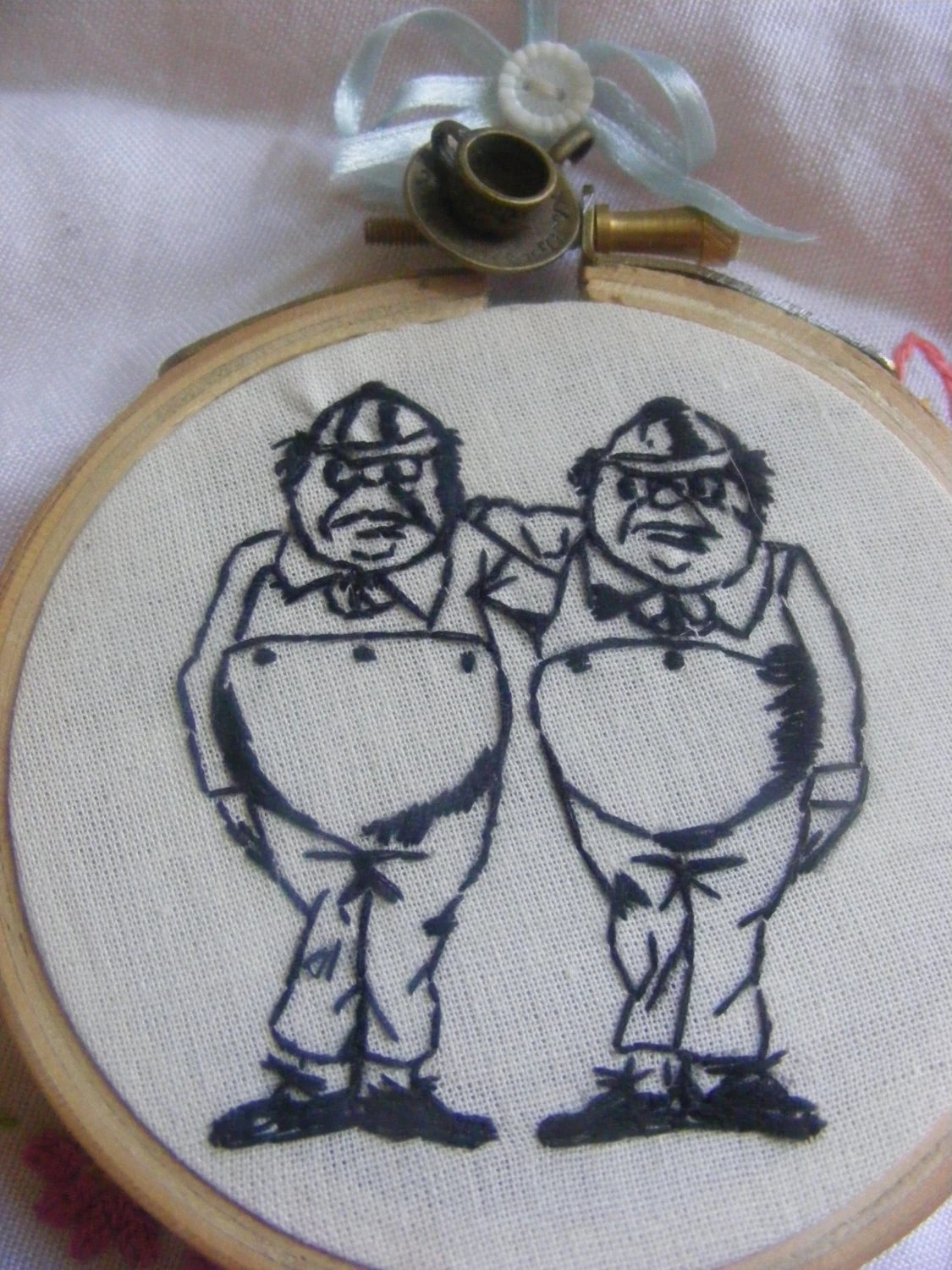"Hand embroidery Alice through the looking glass collection ""Tweedle Dum and Dee.Blackwork Alice in wonderland"