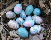 Blue Easter Eggs, Tiny Wren Eggs, Decoupage Eggs, Washi Paper, Easter Ornament, BLue Eggs, Turquoise, Robin Blue, Aquamarine - PrettyKiku