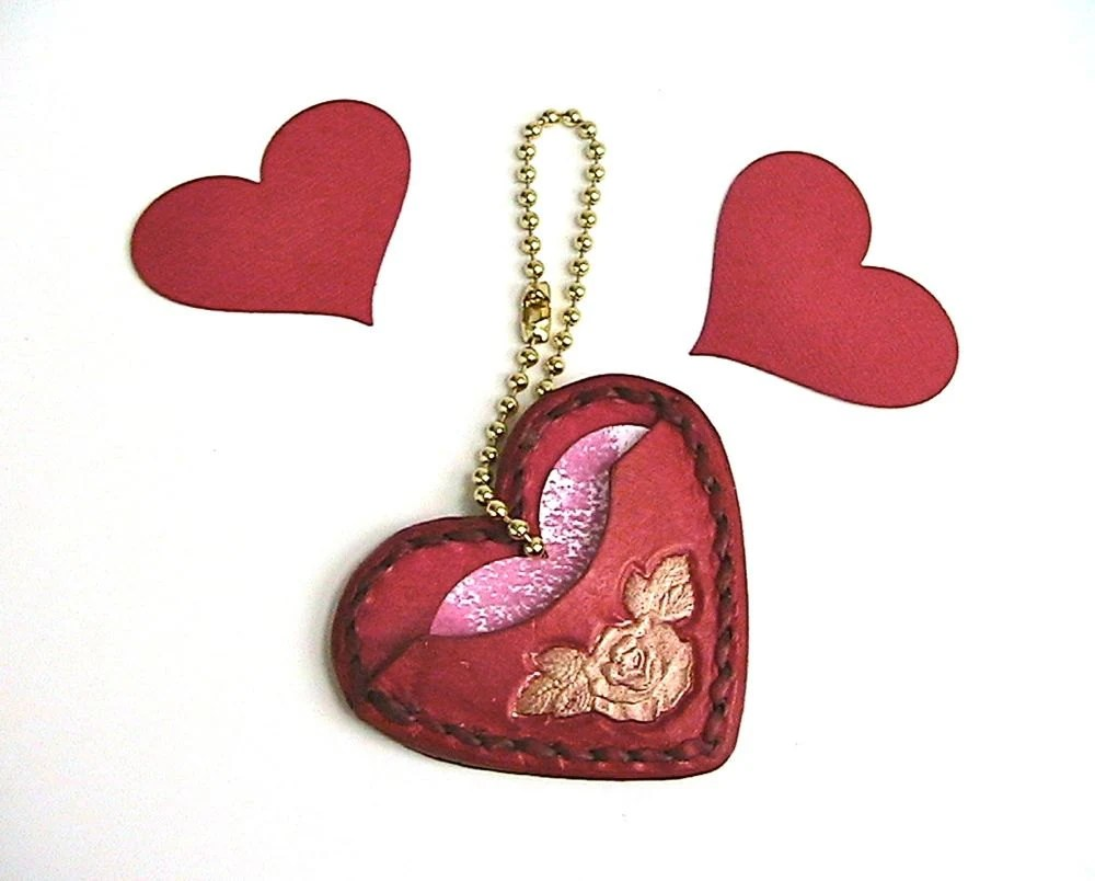 Red and gold leather heart shaped gift tag pocket - WoodBoneAndStone
