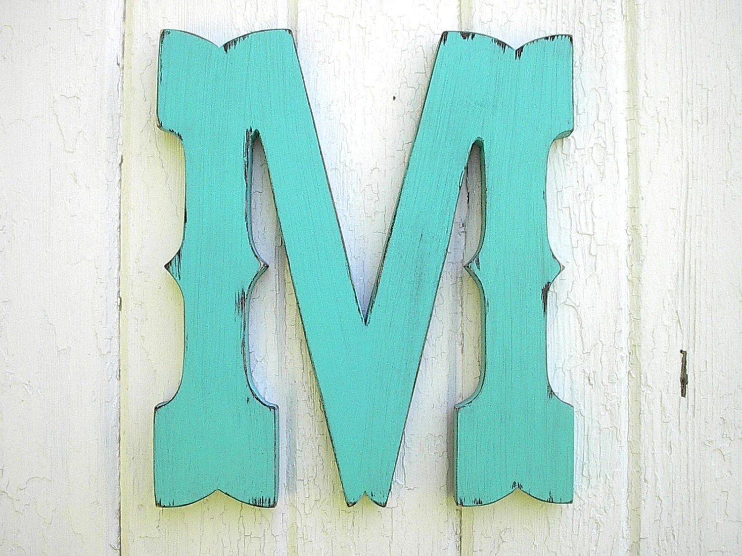 Rustic Wooden Letter M Western Cowboy Style 12 inch Wedding Gift Guestbook Decoration Nursery letters Boys decor Kids wall art - LettersofWood
