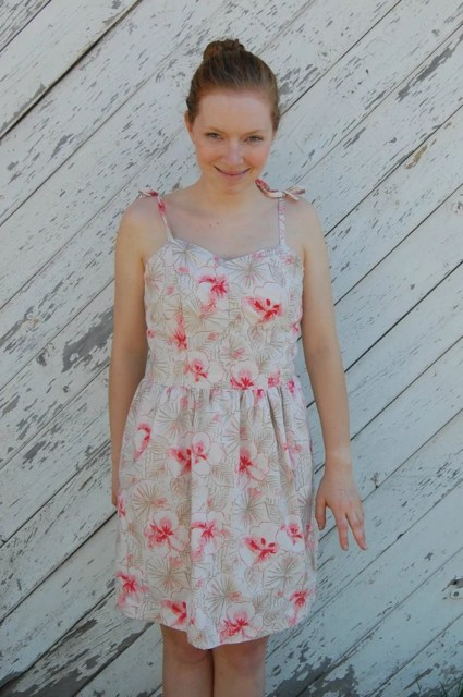Cornelia. Petite Dress Pink and Cream Floral Sundress. Made to Order.