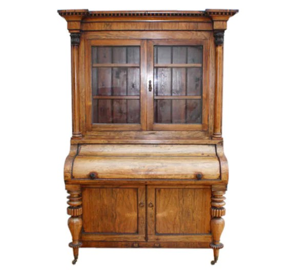 Victorian Rosewood Cupboard Bureau Bookcase