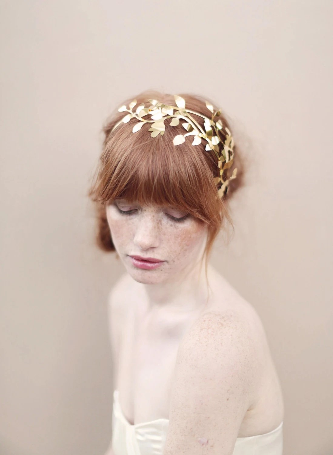 Bridal headband, fern leaves, headpiece - Woodland fern gilded headband - Style 353