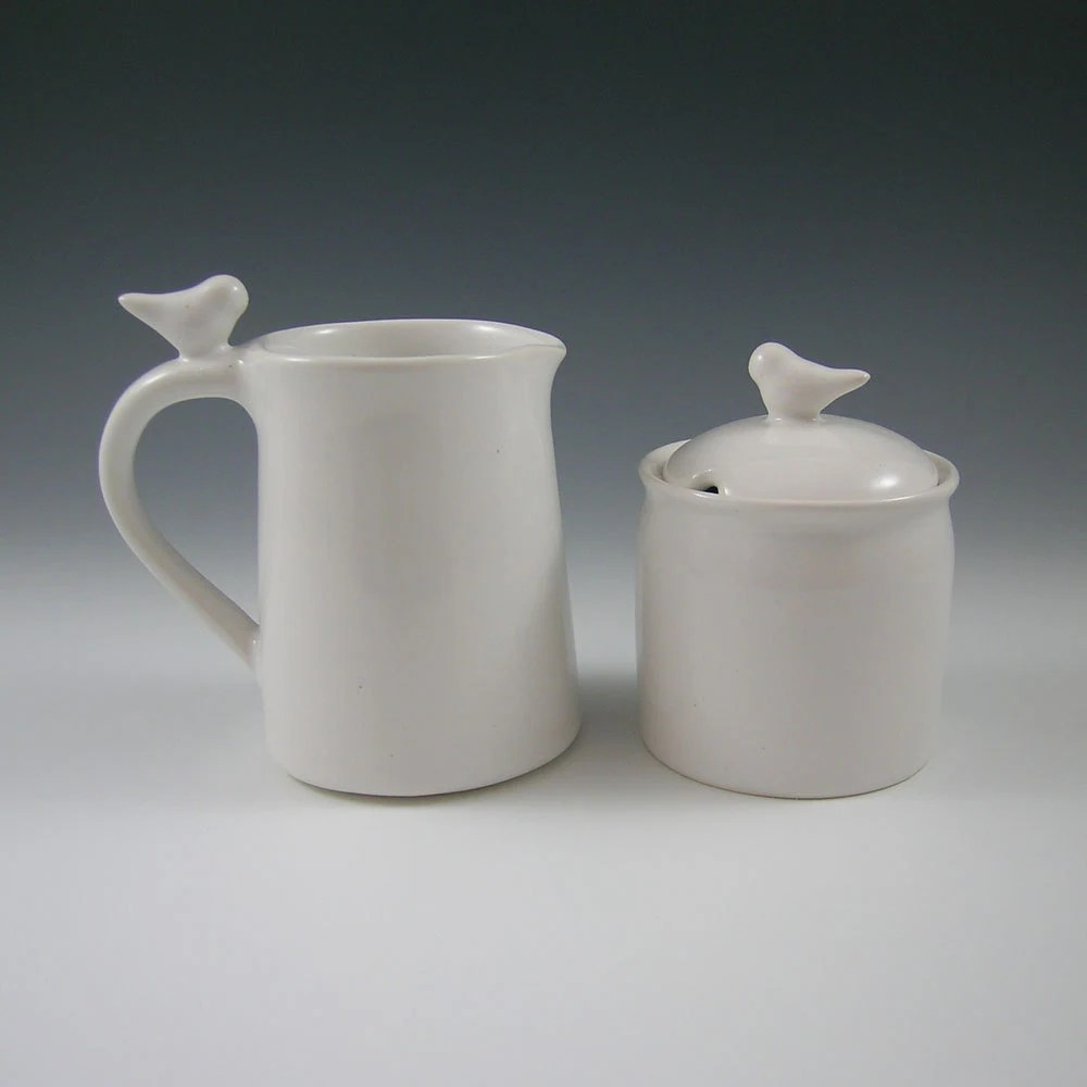 Bird Sugar Bowl and Creamer Ceramic Set For Entertaining, Hostess, Kitchen, Dining - whitneysmith