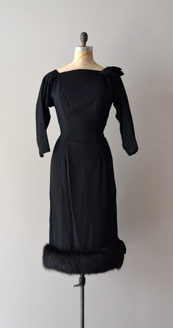 1950s dress / black 50s dress / Gravitas wool & fur dress