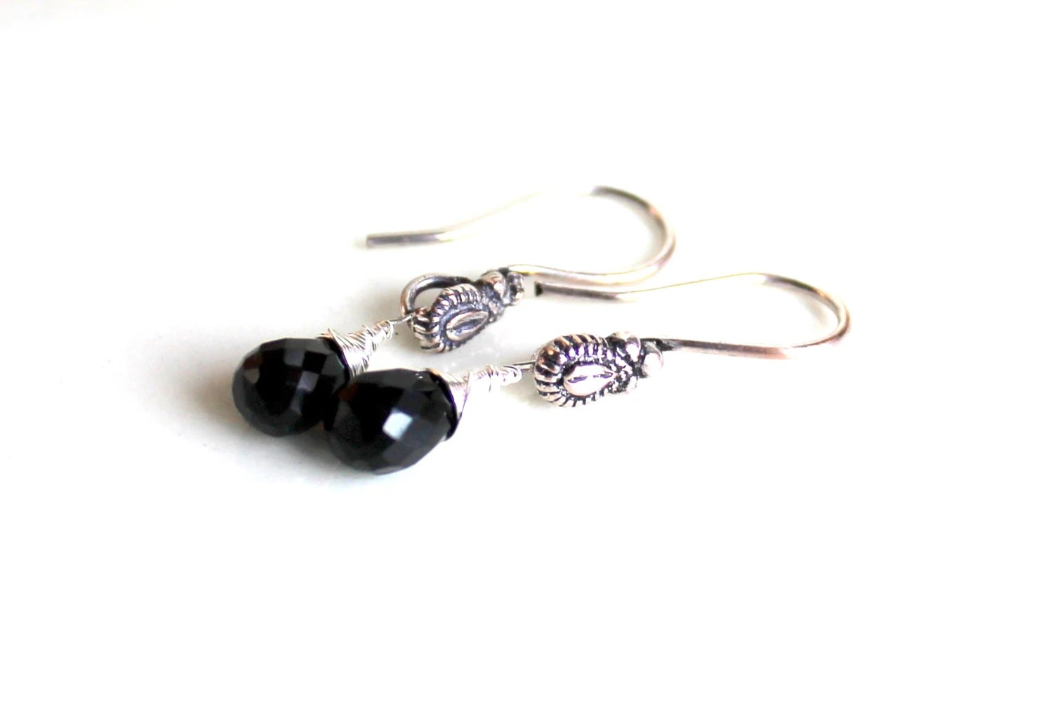 gothic onyx teardrop earrings / black onyx faceted sparkling earrings  FREE SHIPPING sterling wrapped gemstone gift - UniqueNecks