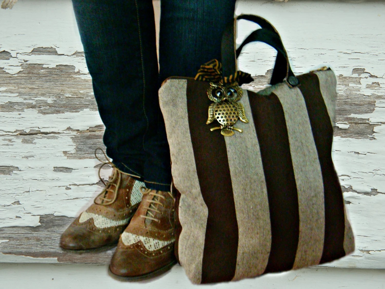 Brown Striped Tote Bag Laptop Owl Bag Real Leather Handles - faima