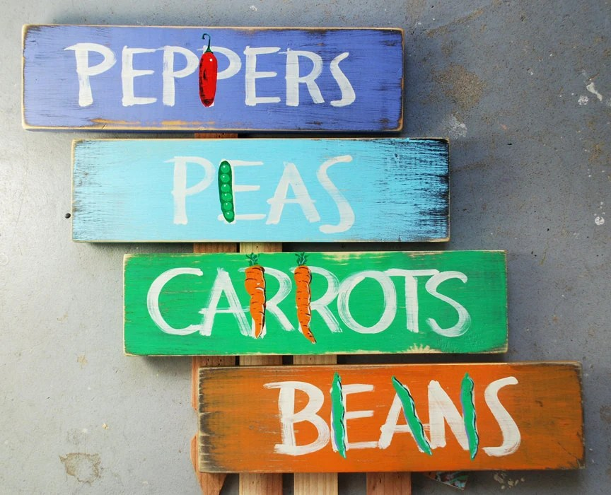 Group of 4 Hand-painted Garden Signs - RusticSignworks