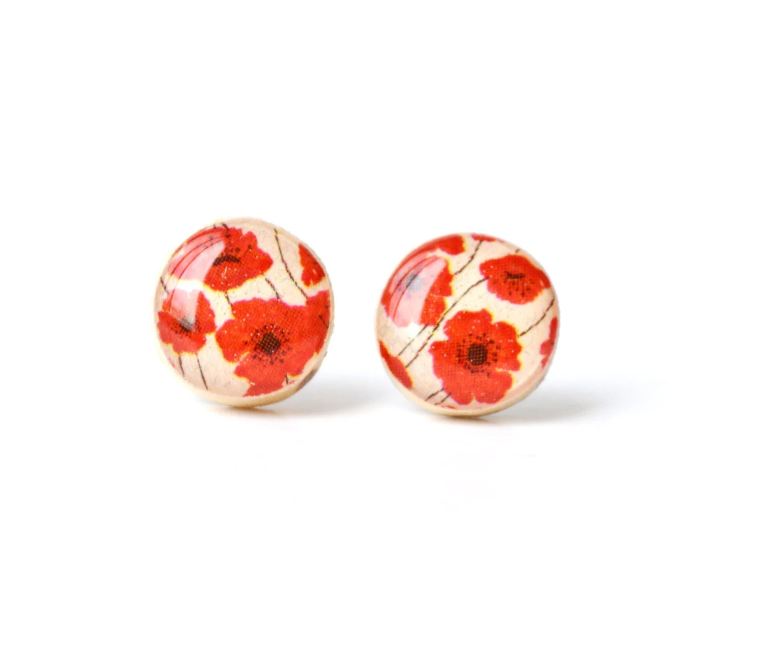 Red poppy studs post earrings wood earrings spring jewelry eco fashion eco friendly unique gift for her - starlightwoods