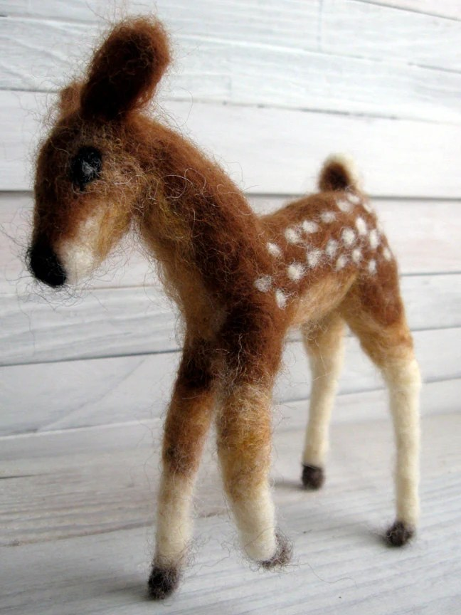 Fawn Deer Bambi handmade doll - brown needle felted wool