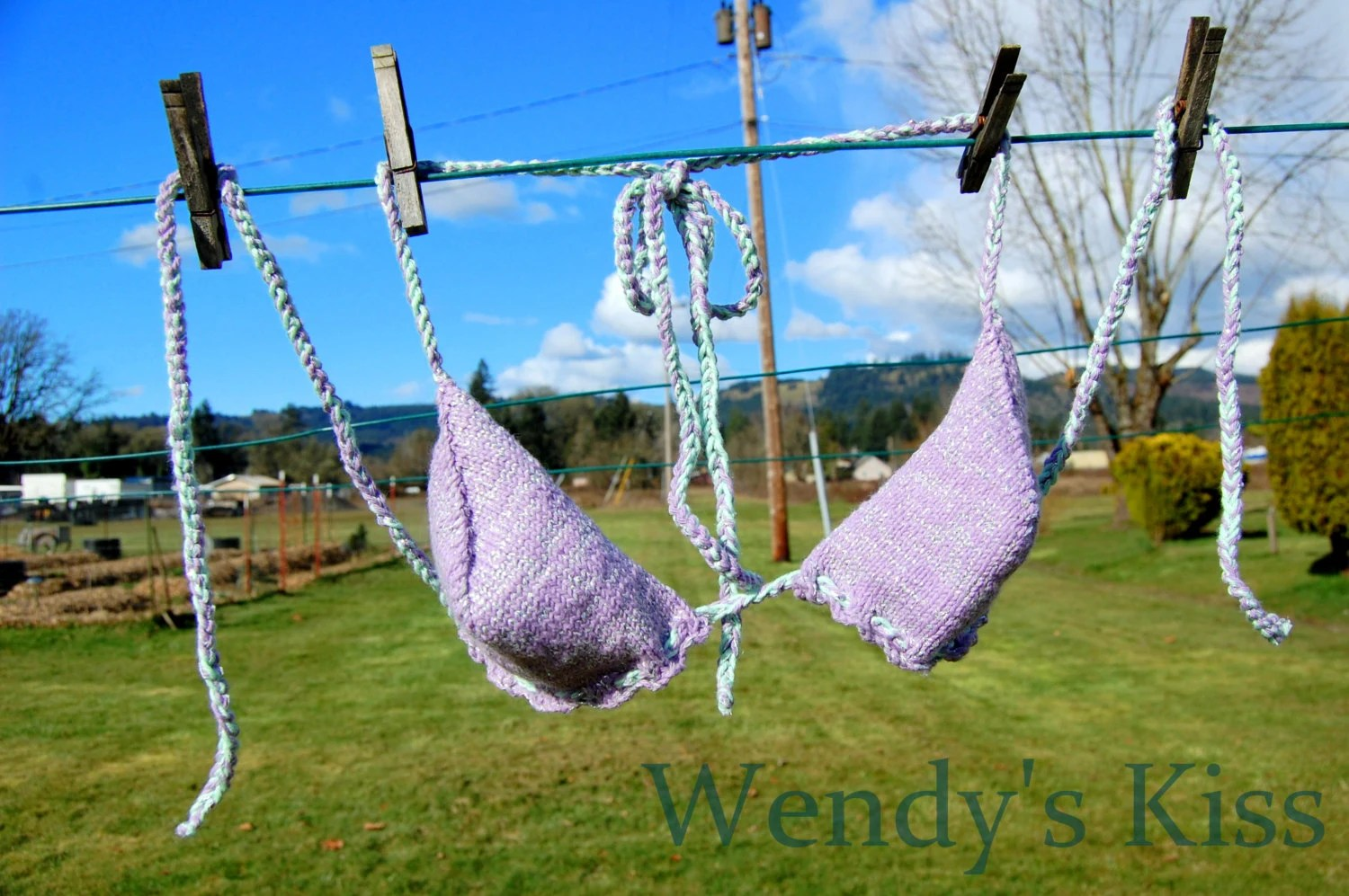 Knitted Bikini Top - Purple Sparkle Mint, Size Medium - WendysKiss