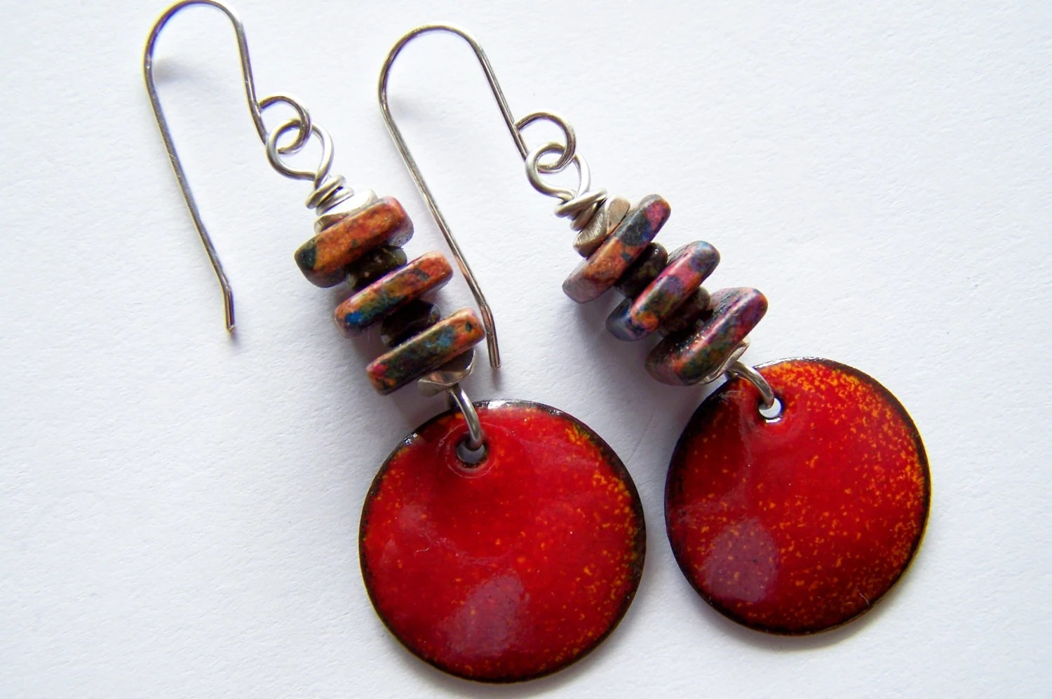 Copper Enamel Earrings  Orange, Red and Brown  Dangle Style - EllianneEnamels