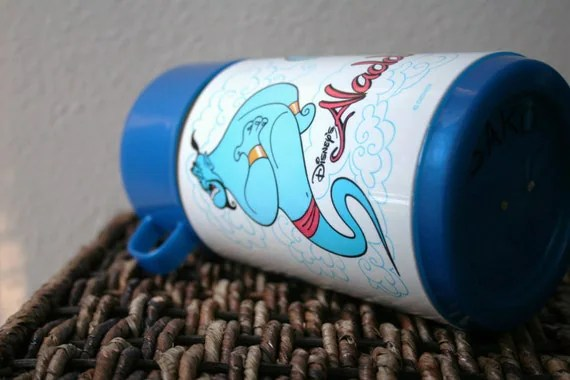 Disneys Aladdin Thermos, Blue Plastic Children's Lunchbox