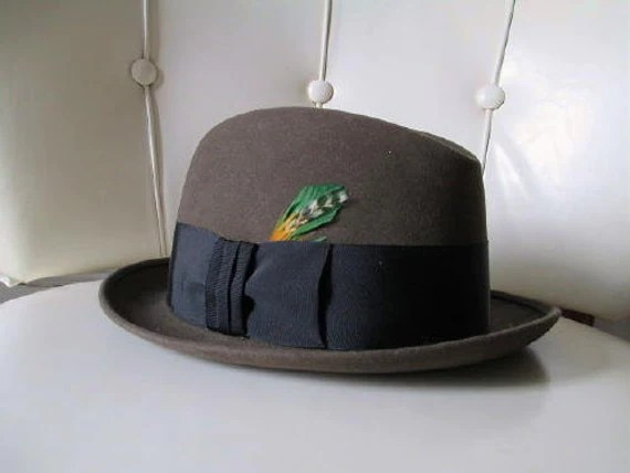 1960s brown grey vintage fedora hat small skinny brim sinatra blues