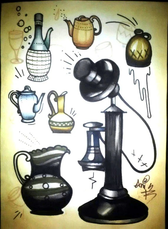teapot and telephone tattoo flash, 11x14, tattoo art,  tattoo flash - resonanteyes