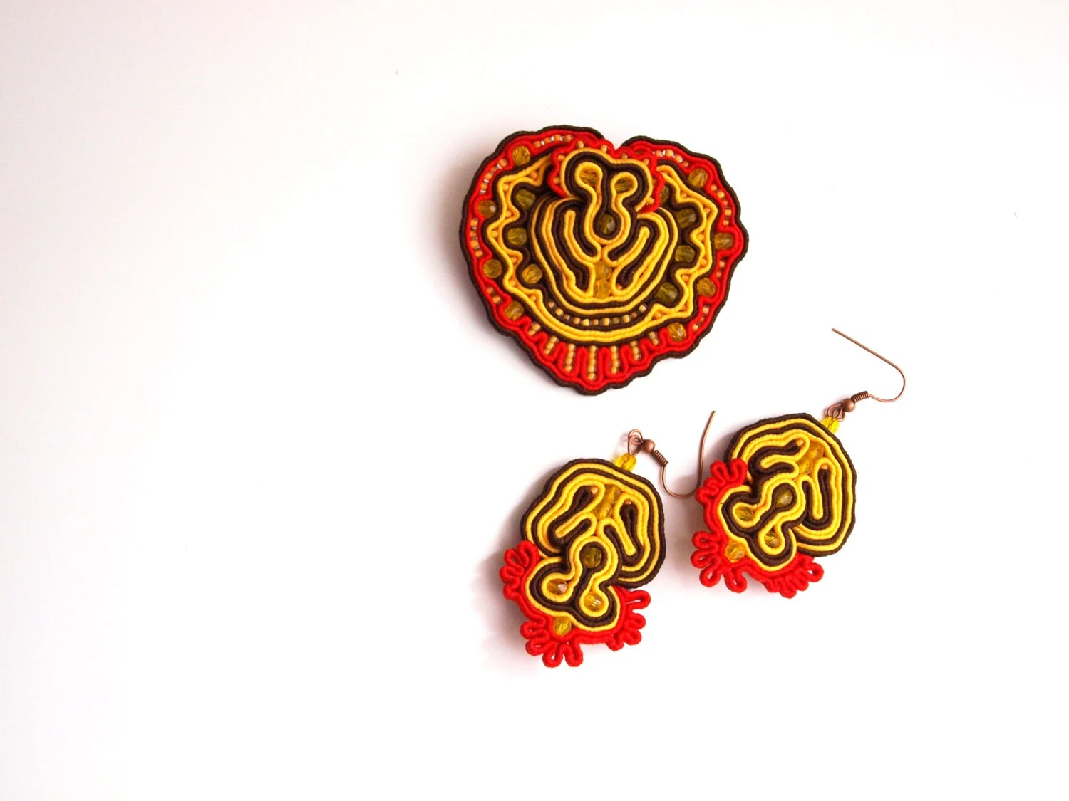Red and yellow soutache brooch and earrings, soutache set, mothers day set,, embroidered brooch, red embroidery set, - RasaVilJewelry