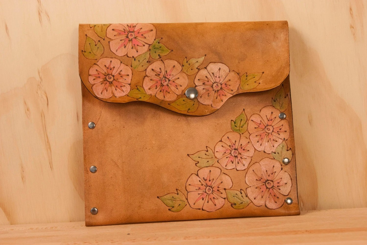 Leather Pouch or Clutch - Yellow, Green, Gold and antique brown  - Margot pattern with Hummingbird and flower