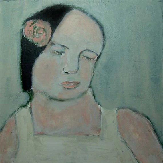 Acrylic Portrait Painting - Girl, Eyes Closed, Muted Colors, Soft, Angelic, Peacefully, Calm, Sad, Melancholy