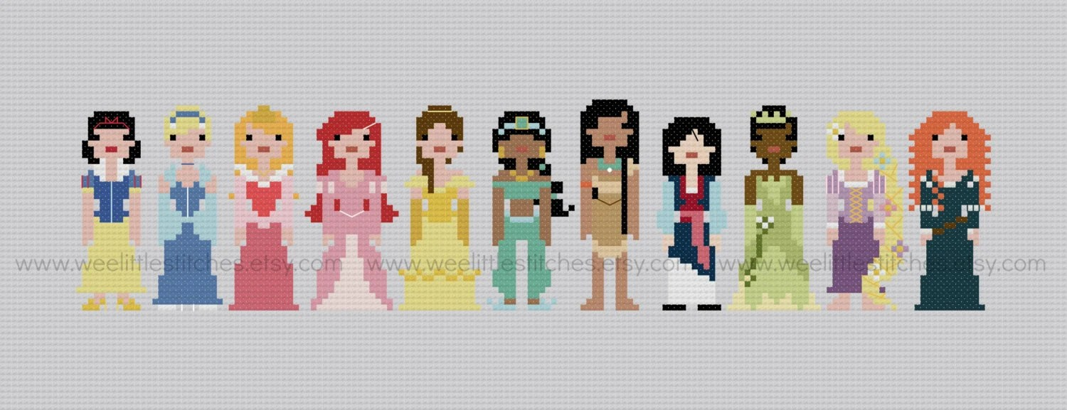 Pixel People - Storybook Princesses - PDF Cross-stitch Pattern - INSTANT DOWNLOAD