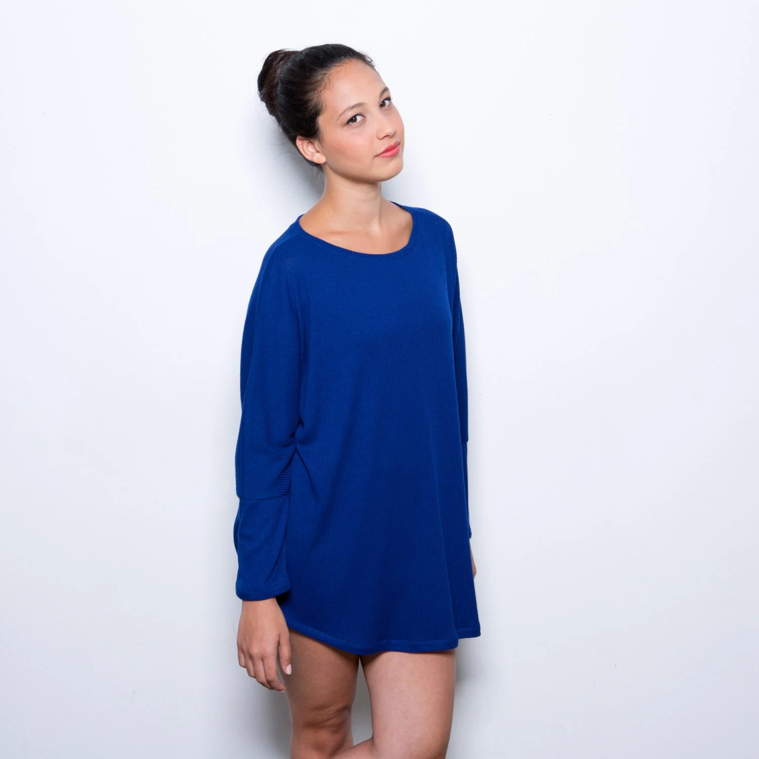 Blue tunic women oversize shirt, women blue top one size fits all - AndyVeEirn