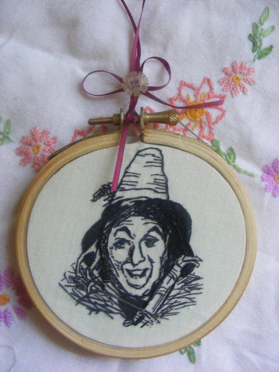 Hand embroidery blackwork wizard of oz . Scarecrow Ribbon attached to hang