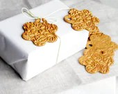 Gift packing tags 6 gold flowers - OksanaPiven